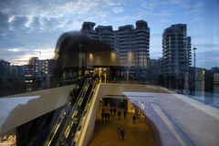 Lombardy -Milan - Italy - CityLife. The shopping center and the city mirrored Stock Photo