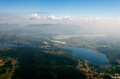 Lombardy seen from an airplane. Alps, lakes, fields and towns neal Malpensa Airport Milan, Italy seen from an airplane Stock Photography