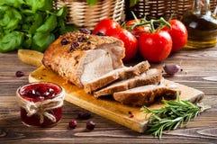 Lombo arrostito della carne di maiale Fotografie Stock Libere da Diritti