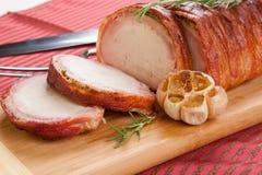 lombo de carne de porco Bacon-envolvido Fotografia de Stock
