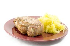 Lombo de carne de porco e polpa de espaguete Fotografia de Stock