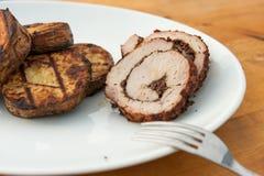 Lombo de carne de porco enchido grelhado Fotografia de Stock