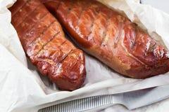Lombo de carne de porco fumado de Apple Fumador de Digitas fotografia de stock royalty free