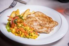 Lombo de carne de porco grelhado, prato lateral Foto de Stock