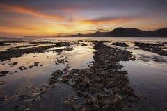 Lombok - Beautiful sunset at Selok Belanang beach. Royalty Free Stock Photography