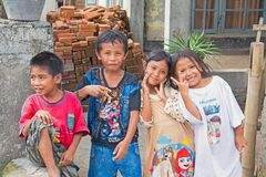 Kids in the streets in Lombok, Indonesia Stock Image
