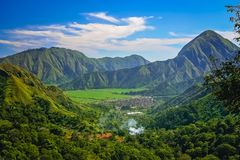 Lombok island landscape. Panoramic view of the beautiful interior of the Lombok island, Indonesia royalty free stock photos