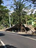 Lombok trzęsienia ziemi Tradycyjny dom Załamujący się obrazy royalty free