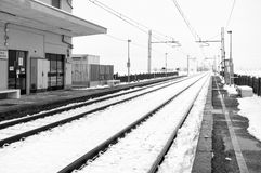 Lomellina, winter train station. Black and white photo Stock Images