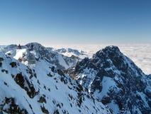 从Lomnicky峰顶的冬天外型 免版税库存图片