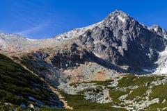 Lomnicky Peak, High Tatras, Slovakia. The most popular and most famous peak of the High Tatras, Slovakia is the Lomnický Peak (2634 m). The triangular top of Stock Images