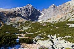 Lomnicky Peak, High Tatras, Slovakia. The most popular and most famous peak of the High Tatras, Slovakia is the Lomnický Peak (2634 m). The triangular top of Royalty Free Stock Image