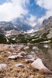 Lomnicky Stit. View on the Lomnicky Stit from Skalnate pleso. This place is located in High Tatras in Slovakia Royalty Free Stock Photography