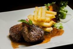 Lomo al whisky. Plato estilo gourmet gastronomía ecuatoriana Royalty Free Stock Photos