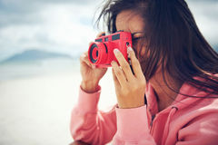 Lomo camera woman Stock Photography