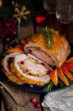 Lomo de cerdo relleno con la pechuga de pollo Imágenes de archivo libres de regalías