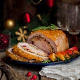 Lomo de cerdo relleno con la pechuga de pollo Imagen de archivo libre de regalías