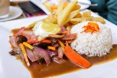 Lomo Saltdao, alimento peruano típico, Peru imagens de stock