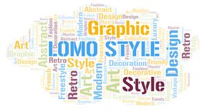 Lomo Style word cloud. Wordcloud made with text only royalty free illustration