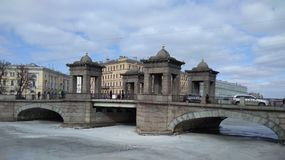 Lomonosov Bridge. Over the Fontanka river in the Central district of St. Petersburg Royalty Free Stock Photo