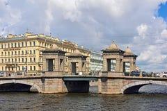 Lomonosov Bridge in Saint Petersburg, Russia Royalty Free Stock Images
