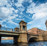 Lomonosov Bridge  in St. Petersburg, Russia Stock Photos