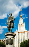 Lomonosov monument and building Royalty Free Stock Photos