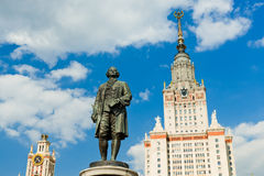 Lomonosov monument and building of Moscow state University Stock Photos