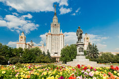 Lomonosov monument and building of Moscow state University Royalty Free Stock Photo