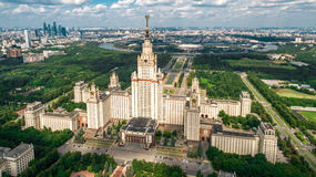 Lomonosov Moscow State University aerial view Royalty Free Stock Photo