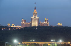 Lomonosov Moscow State University in evening light Stock Photography