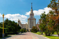Lomonosov Moscow State University MSU. View of the main building on Sparrow Hills Stock Photo