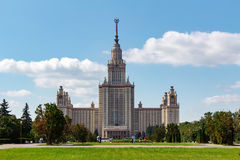Lomonosov Moscow State University MSU. View of the main building on Sparrow Hills Stock Image