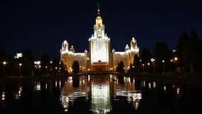 Lomonosov Moscow State University (at night), main building, Russia stock video footage