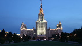 Lomonosov Moscow State University (at night), main building, Russia stock video