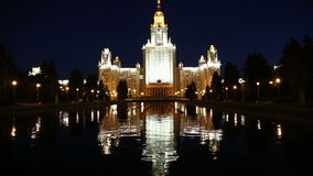 Lomonosov Moscow State University (at night), main building, Russia stock footage