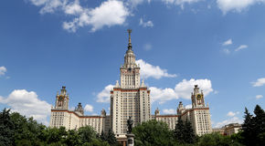 Lomonosov Moskvadelstatsuniversitet, huvudbyggnad, Ryssland Royaltyfria Foton