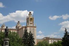 Lomonosov Moskvadelstatsuniversitet, huvudbyggnad, Ryssland Royaltyfri Fotografi