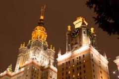 Lomonosov Moskvadelstatsuniversitet på vintern MGU Sparvkullarna Ryssland Arkivbild