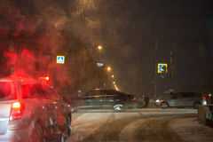 Lomonosovbrug over de Fontanka-de winteravond Stock Foto