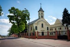 Lomza City, Poland, Church. LOMZA CITY, POLAND - MAY 30, 2015: Benedictine nuns Church of Holy Trinity at Dworna Street stock photography