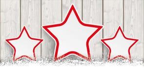 Lon Christmas Card Wooden Laths 3 stelle Immagine Stock Libera da Diritti