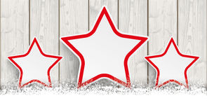 Lon Christmas Card Wooden Laths 3 Sterren Royalty-vrije Stock Afbeelding