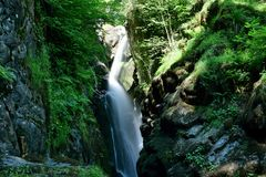 Aira force. Lon gexposure of Aira force waterfall in the Lake district in Cumbria royalty free stock photo