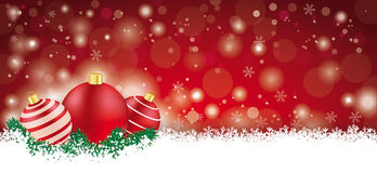 Lon Red Christmas Card. Red christmas card with baubles on the snow Stock Image