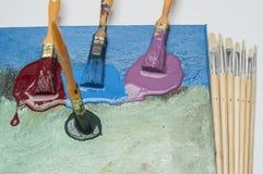 Lona azul pintada Imagens de Stock Royalty Free