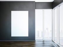 Lona branca na parede escura no interior moderno rendição 3d ilustração do vetor
