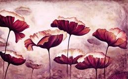 Lona de las amapolas de la pintura fotografía de archivo libre de regalías