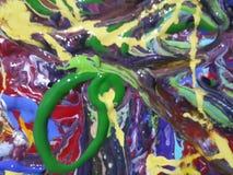 Lona de pintura abstracta colorida para el diseño casero foto de archivo libre de regalías