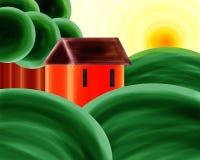 Lona de pintura alaranjada da paisagem do por do sol da casa ilustração royalty free